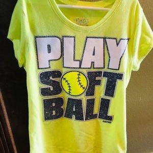 Yellow Justice softball T shirt w sparkle sz14